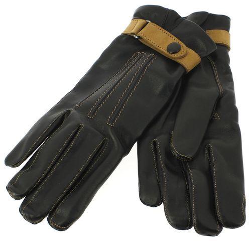 Gant cuir noir Luxe, agneau-cachemire, fait main en Italie