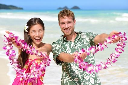 Welcome to Hawaii - Hawaiian people showing lei_93773066_XS