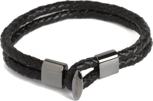Bracelet cuir tressé double, noir, acier rhodié, Simon Carter