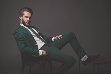 Business fashion man wearing green suit with white shirt black a_70536968_XS