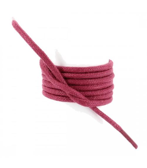 Lacets-ronds-coton-cire-couleur-framboise