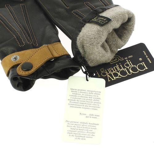 Gant cuir noir Luxe, agneau-cachemire, fait main en Italie2