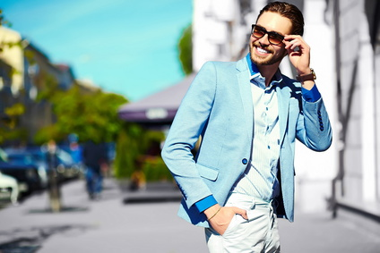 Handsome stylish man in casual suit hipster cloth in the street_84202225_XS