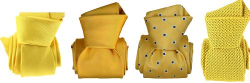 Cravates jaunes soie  grenadine de soie  microfibre et Luxe faite à la main